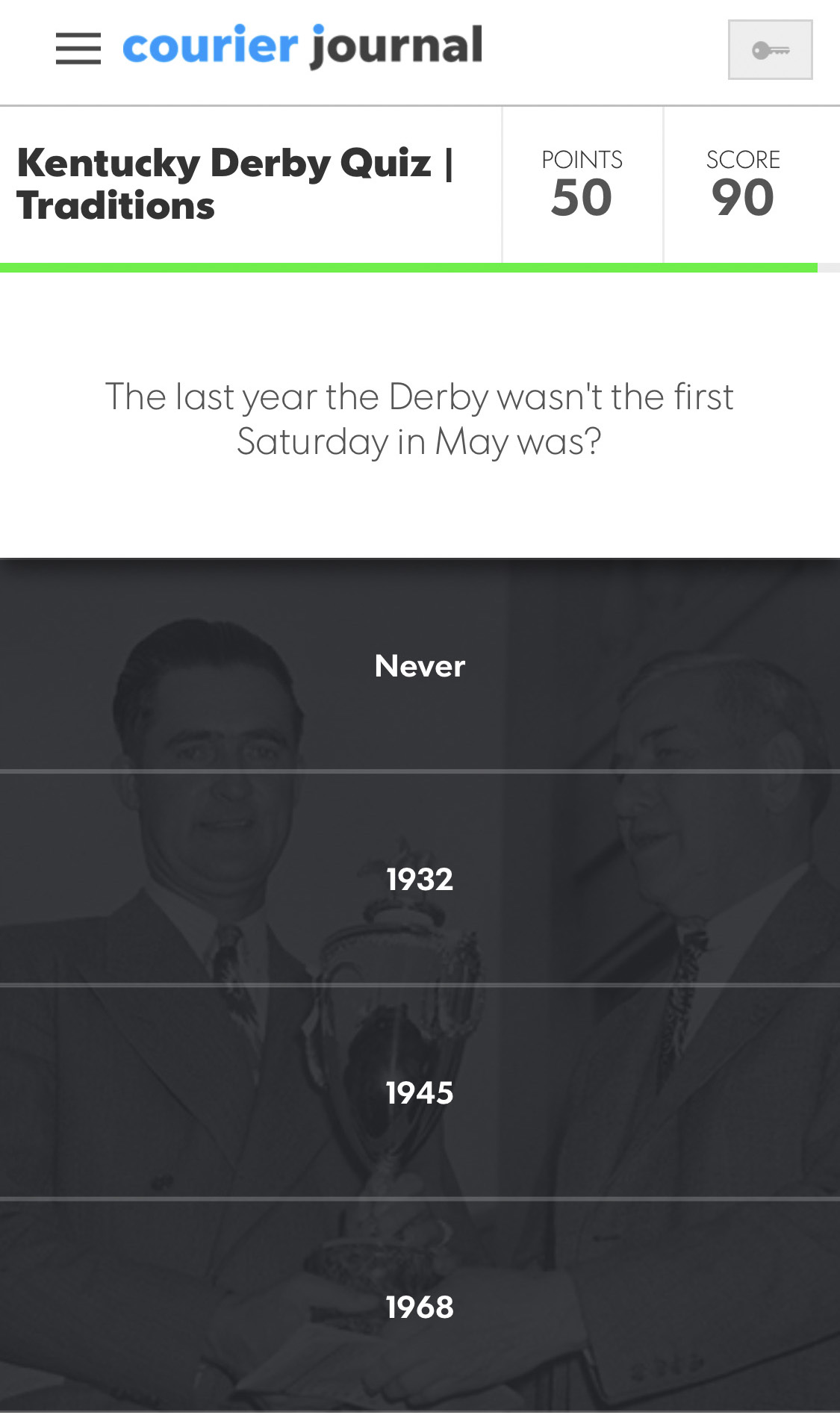 Take the quiz and test your knowledge on the Kentucky Derby traditions
